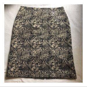ISAAC MIZRAHI Lined Gold Flex Pencil Skirt